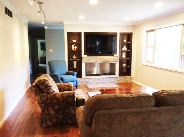 Bonus Room Renovation with Built in Cabinets and Electric Fireplace