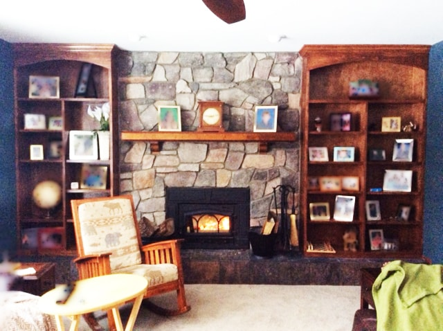Natural Stone Fireplace and Custom Built in Book Shelves