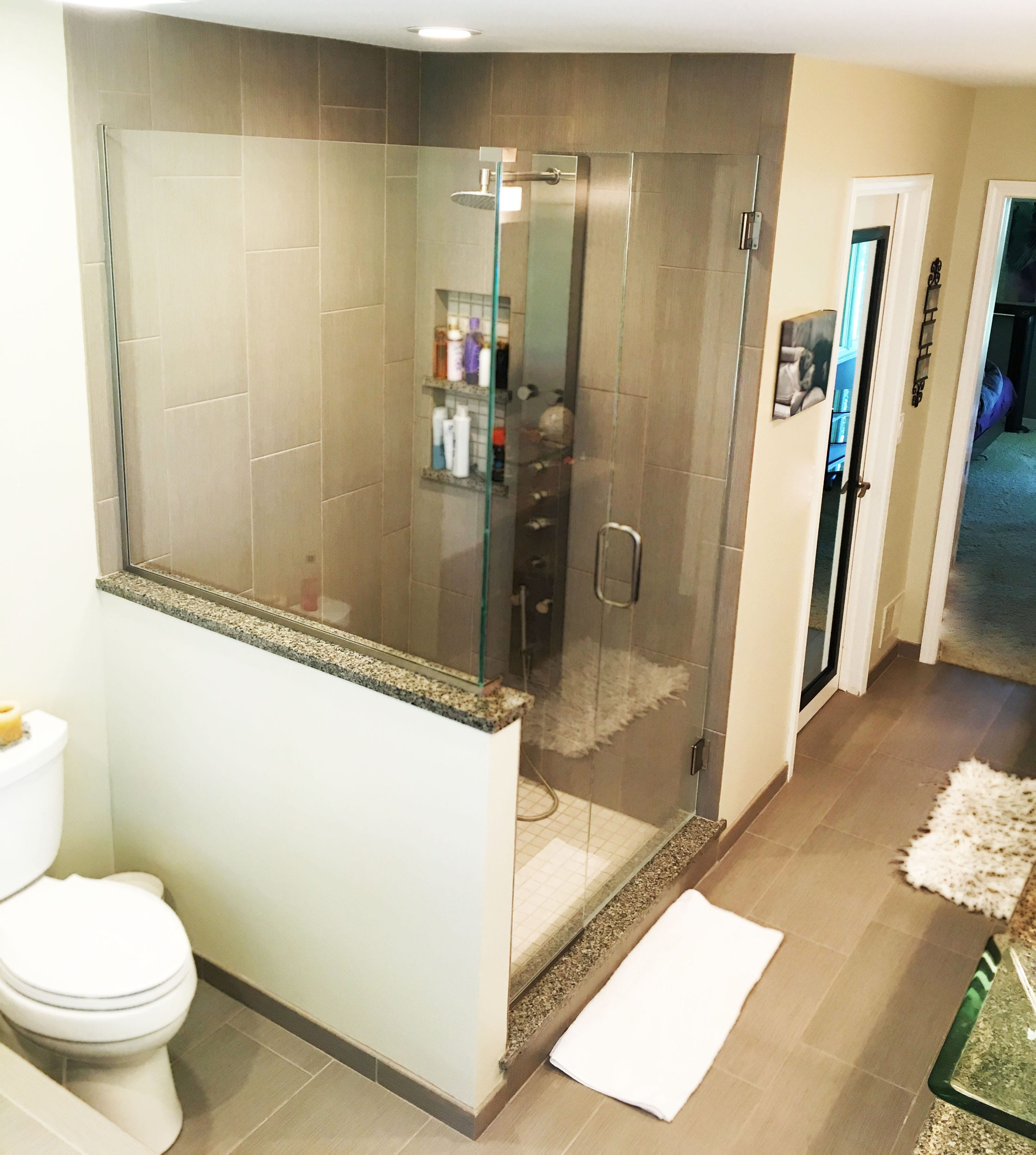 and Glass Enclosure Stand Up Shower Renovation with Updated Ceramic Bathroom Flooring